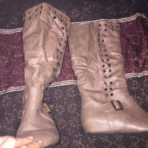 Charlotte Russe brown studded boots